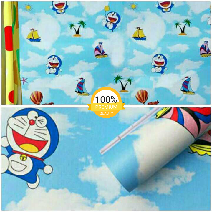 Wallpaper Sticker Motif Doraemon Pantai Lucu Imut 10 Meter