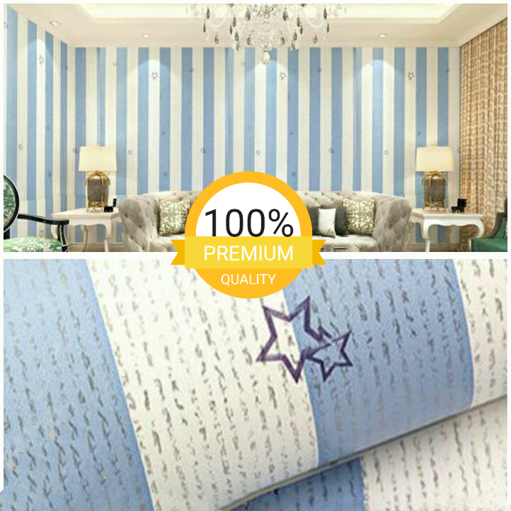 Wallpaper Sticker Motif Garis Blue Little Star Cantik Minimalis Elegan 10 Meter