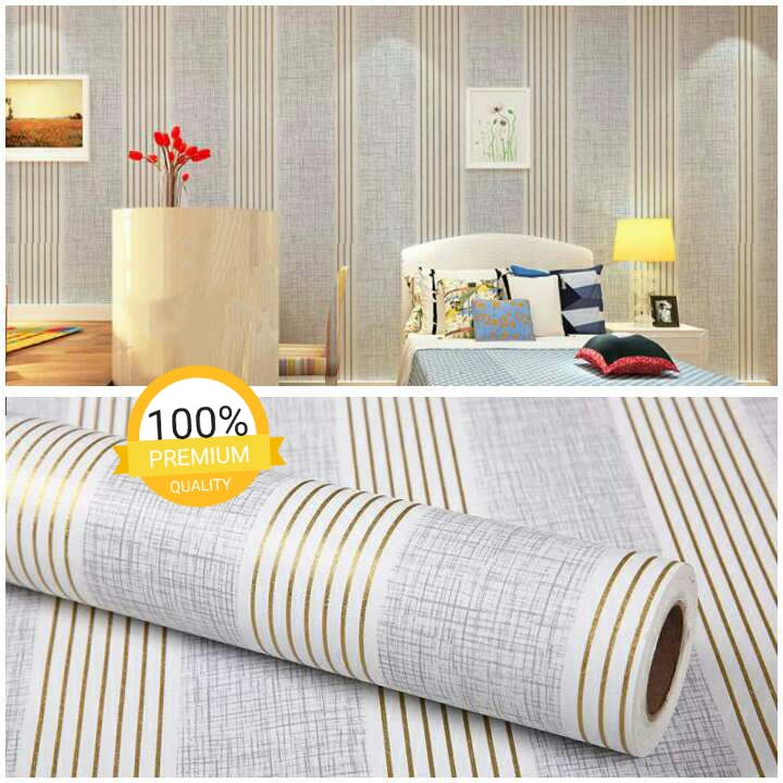Wallpaper Sticker Motif Garis Emas Cantik Elegan Minimalis 10 Meter