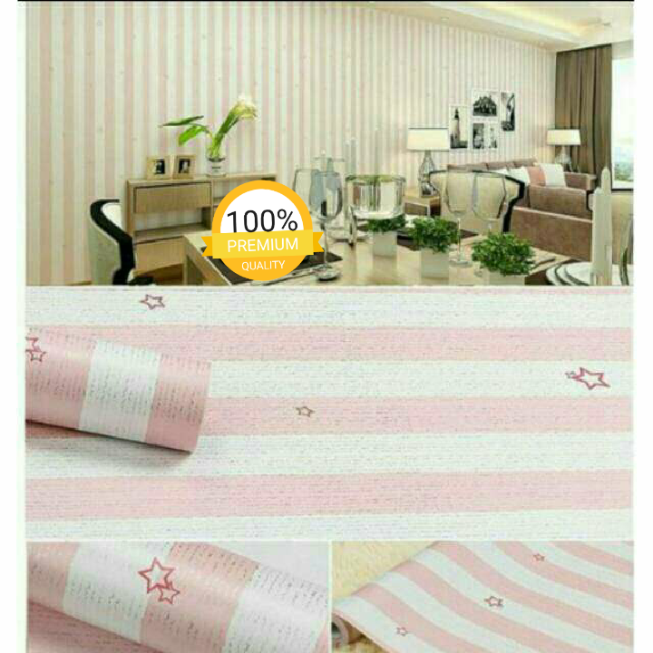 Wallpaper Sticker Motif Garis Pink Little Star Cantik Minimalis Elegan 10 Meter